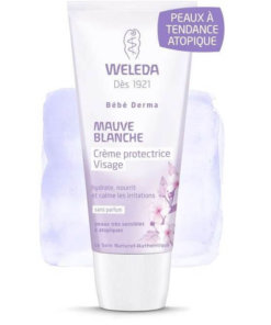 Crème protectrice visage bébé mauve blanche Weleda Maroc